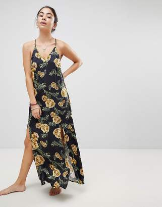 Somedays Lovin River Running Floral Maxi Beach Dress With Side Split