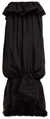 Simone Rocha Feather Trim Taffeta Strapless Dress - Womens - Black