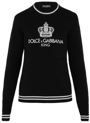 Dolce & Gabbana Logo Intarsia Wool Blend Sweater - Mens - Black