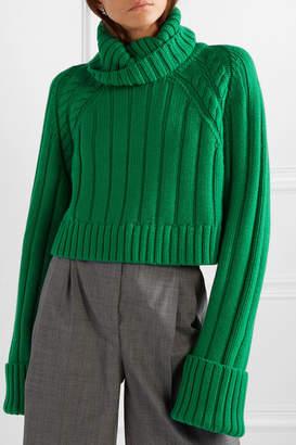 Matthew Adams Dolan - Oversized Cropped Cable-knit Merino Wool Turtleneck Sweater - Green
