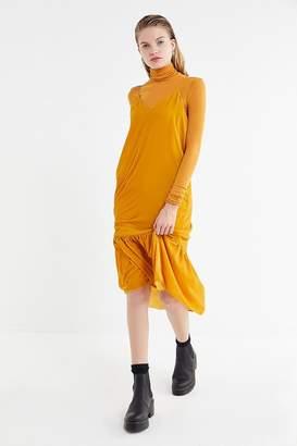 Urban Outfitters Madeline Velvet Ruffle Midi Dress
