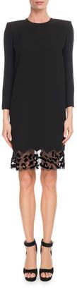 Givenchy Jewel-Neck Crepe Shift Cocktail Dress w/ Leopard-Lace Trim