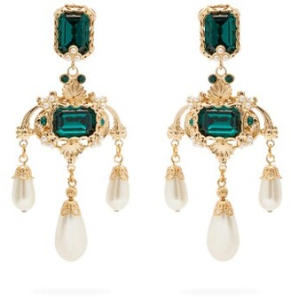Dolce & Gabbana Crystal And Faux Pearl Drop Earrings - Womens - Green