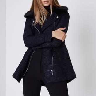 River Island Womens Navy glitter faux fur collar coat