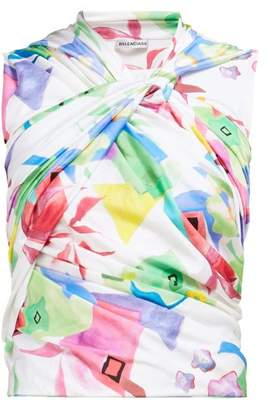 Balenciaga Abstract Print Draped Top - Womens - White Multi