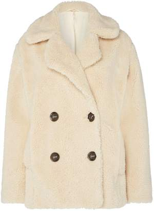 Free People Notched Teddy Style Buttun Up Pea Coat