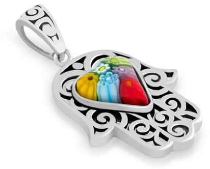 Filigree Sterling Silver Multicolor Millefiori Hamsa Heart Pendant by Alan K