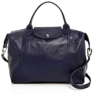 Longchamp Le Pliage Medium Leather Satchel