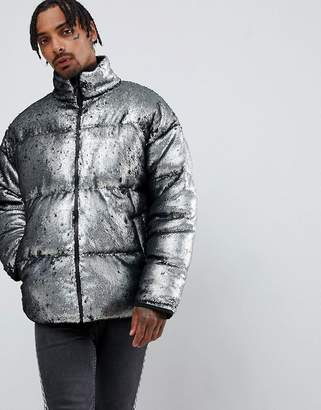 Asos DESIGN oversized sequin puffer jacket in silver