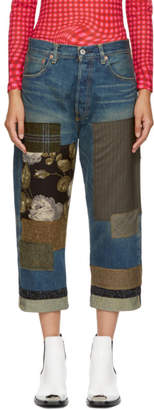 Junya Watanabe Indigo Cropped Patchwork Jeans