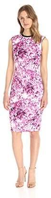 Lark & Ro Women's Sleeveless Printed Scuba Sheath Dress