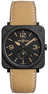 Bell & Ross BRS-HERI-CEM Unisex Ceramic Leather Strap Watch, Brown/Black