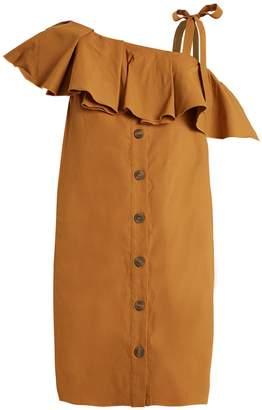 Sea Ruffle-trimmed one-shoulder gabardine dress