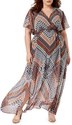 INC International Concepts Plus Printed Flutter Sleeve Maxi Dress