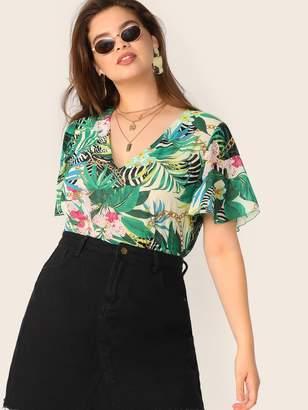 Shein Plus Flutter Sleeve Chain & Tropical Print Top