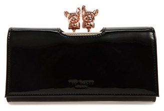 Women's Ted Baker London Bulldog Karrine Patent Leather Wallet - Black $149 thestylecure.com