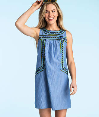 Vineyard Vines Yarn Dye Stripe Embroidered Shift Dress
