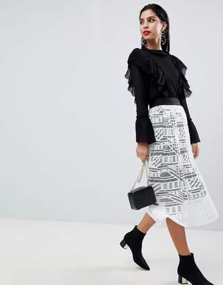 Sisley Lace Pleated Midi Skirt