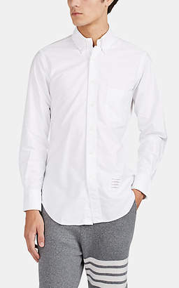 Thom Browne Men's Tricolor-Cuff Cotton Oxford Cloth Button-Down Shirt - White
