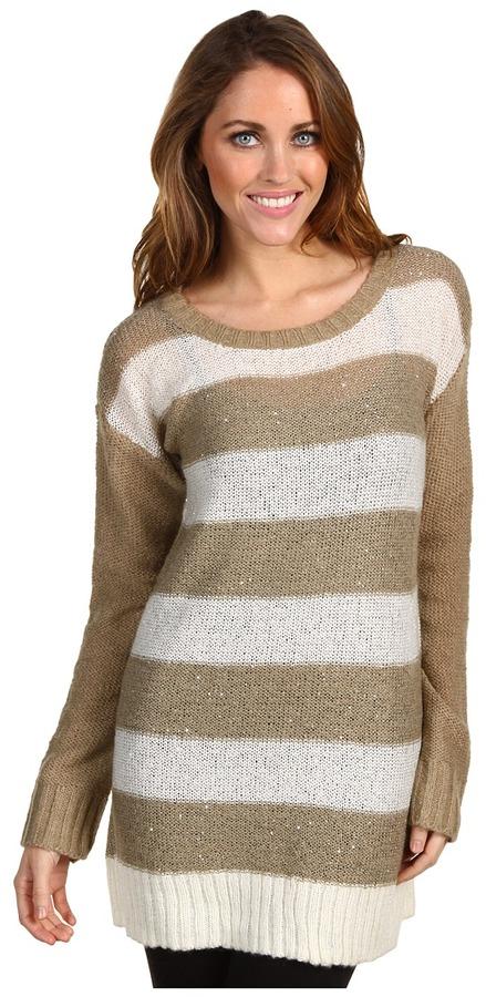 DKNY Colorblock Stripe Sequin Tunic (White/Cobblestone) - Apparel