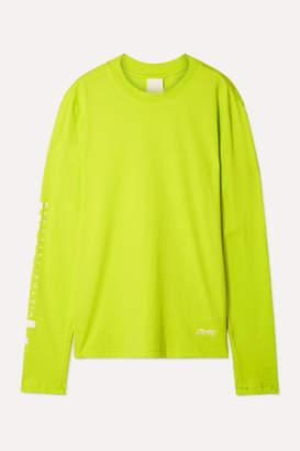 Reebok x Victoria Beckham Printed Neon Cotton-jersey Top - Chartreuse