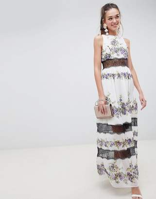 Asos Design DESIGN Lace Panel Maxi Dress In Vintage Floral