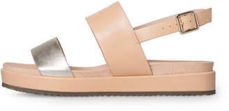 Oliver Bonas Silver Double Strap Metallic Leather Flatform Sandals