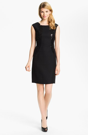 Ellen Tracy Sequin Trim Sheath Dress