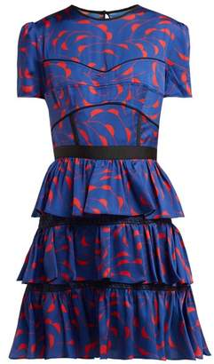 Self-Portrait Self Portrait Tiered Satin Dress - Womens - Navy Multi