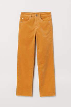 H&M Ankle-length Corduroy Pants - Yellow
