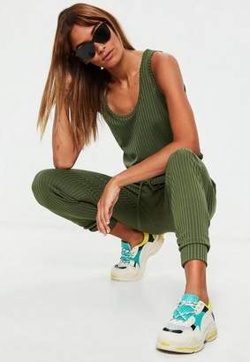 Missguided Khaki Sleeveless Ribbed Jersey Romper