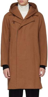 Attachment Detachable hood wool-cashmere melton coat