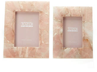 Twos Company Pink Quartz Set of 2 Photo Frames in Gift Box Includes 2 Sizes