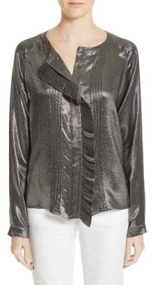 Women's Belstaff Elm Silk Blend Lame Blouse $795 thestylecure.com