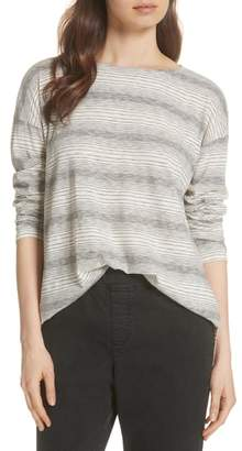 Eileen Fisher Boxy Stripe Recycled Cotton Blend Tee