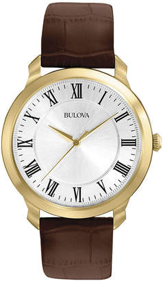 Bulova Mens Brown Leather Strap Watch