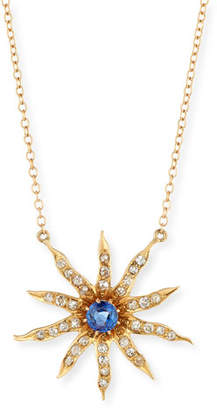 Turner & Tatler Victorian 14k 10-Point Star Diamond & Sapphire Pendant Necklace