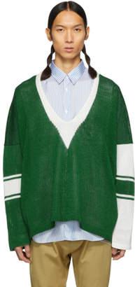 Sulvam Green and White School Knit Sweater