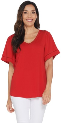 Halston H By H by Knit Crepe V-Neck Top with Flutter Sleeves