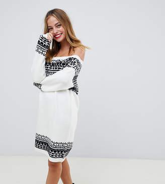 Asos DESIGN Petite fairisle jumper dress in off shoulder shape