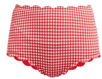 Marysia Swim Santa Monica Gingham Scallop Edge Bikini Briefs - Womens - Red White