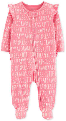 Carter's Carter Baby Girls All-Over Words Cotton Footed Pajamas