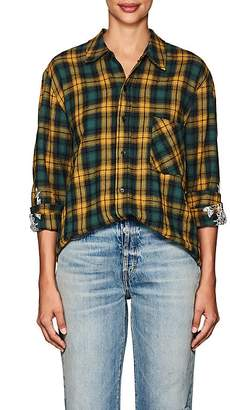 Adaptation Women's Floral-Embroidered Plaid Cotton-Wool Shirt