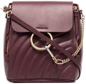 Chloé burnt brown faye small quilted leather backpack