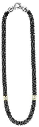 Lagos 'Black Caviar' 7mm Beaded Diamond Station Necklace