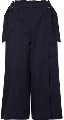 Chloé Cropped Wool-drill Wide-leg Pants - Navy