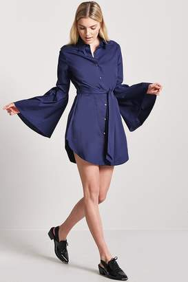 Forever 21 Self-Tie Button-Front Shirt Dress