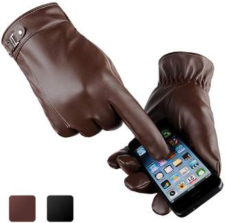 Men's Touchscreen Texting Glove, Ulstar Winter Leather Driving Gloves Cashmere/Wool/Fleece Lining Windproof Outdoor Gloves for Men