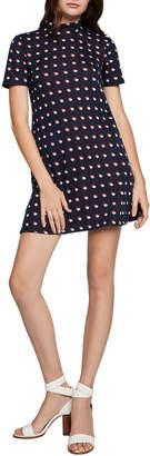 BCBGeneration Polka-Dot Turtleneck A-Line Dress