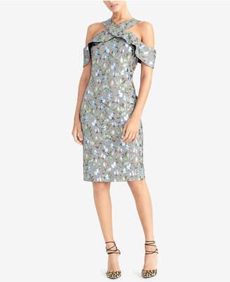 Rachel Roy Metallic Floral Plaid Ruffled Dress
